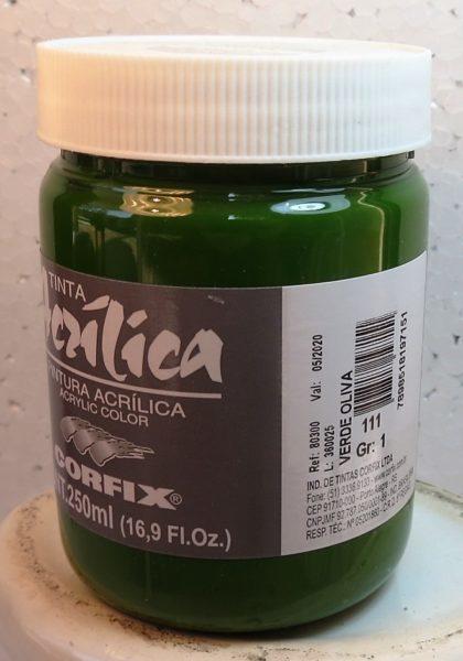 Tinta Acrílica Corfix Verde Oliva #111 – 250ml G1