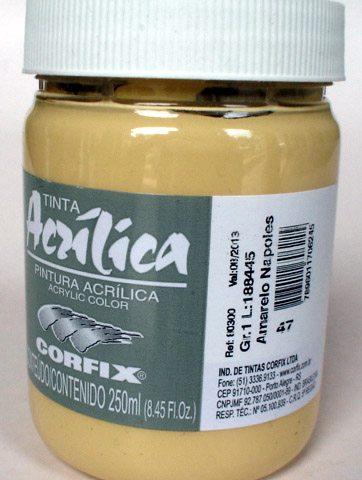 Tinta Acrílica Corfix Amarelo Nápoles #047 – 250ml G1