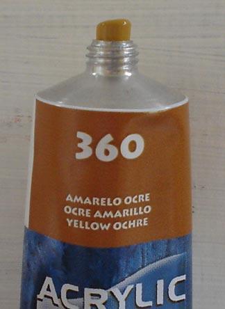 Tinta Acrilica  Acrilex Amarelo Ocre #360 – 59ml