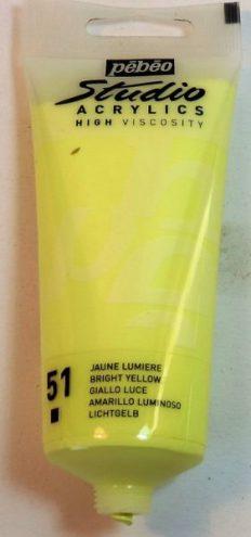 Tinta Acrílica Pébéo Amarelo Brilhante #51-100ml