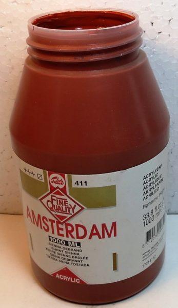 Tinta Amsterdam Acrylic Burnt Siena #411 – 1000ml