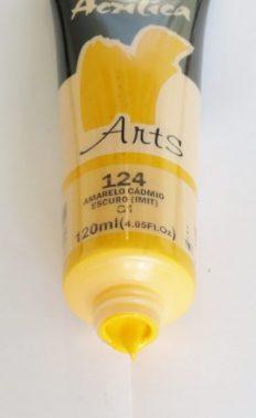 Tinta Acrílica Corfix Arts Amarelo Cadmio Escuro #124 -120ml G1