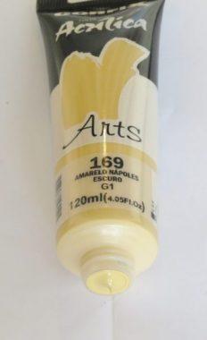 Tinta Acrílica Corfix Arts Amarelo Nápoles Escuro #169 – 120ml G1