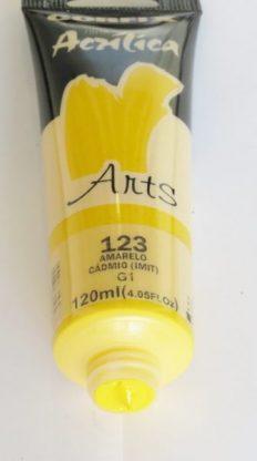 Tinta Acrílica Corfix Arts Amarelo Cadmio #123 – 120ml G1