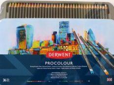 Estojo Metal Lápis de Cor Permanente Derwent Procolour c/36