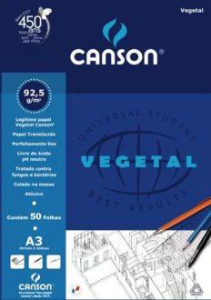 Bloco Desenho Canson Vegetal A3 90gr – 50fls